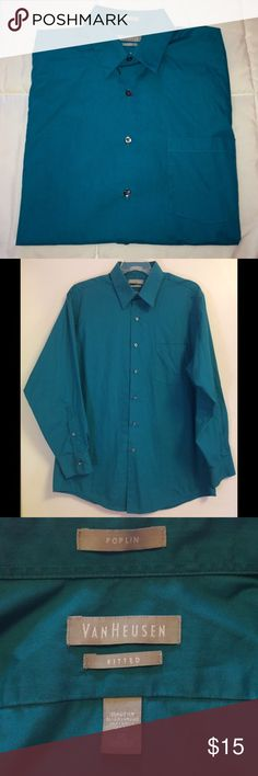 """Men's Van Heusen """"Poplin"""" Fitted Dress Shirt Men's Van Heusen Long Sleeve Button Up """"Poplin"""" Dress Shirt. Solid Aqua Blue Color. Size 16 32/33. Fitted Style. Wrinkle Free Fabric. Perfect Condition. Van Heusen Shirts Dress Shirts"""