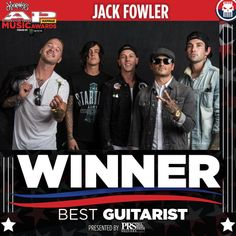 We tallied up the score! Best Guitarist presented by PRS Guitars goes to Jack Fowler of Sleeping With Sirens  #APMAS