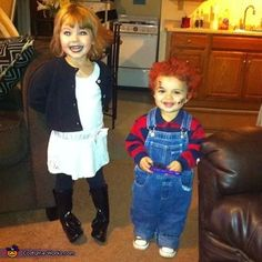 Amanda: Adrianna & Brody dressed as chucky and his bride 2014. Brother and sister/son and daughter.