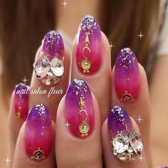 アラビアンナイト的な😁💓 #ルクジェル#ネイル#ネイルアート #ピンクネイル #静岡ネイル#御殿場ネイル#グラデーションネイル #夏ネイル #nails#nailstagram#nailswag#swarovski… Japanese Nail Design, Japanese Nails, Japan Nail Art, Feet Nails, Cool Nail Art, Love Nails, Swag Nails, Pedi, Hair And Nails