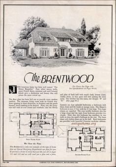 Plan Cut Homes - The Brentwood. The Plan, How To Plan, Cute Cottage, French Cottage, Vintage House Plans, Vintage Houses, Stucco Exterior, Antique House, House Blueprints