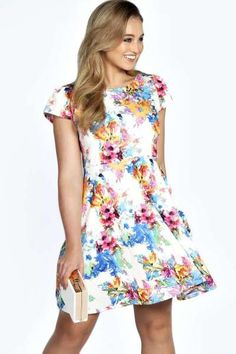 5d26b7ad3c9b Tammy Floral Printed Skater Dress at boohoo.com Boohoo Plus Size Dresses,  Style Wish