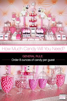 Learn How to Set Up a Candy Buffet step-by-step!find out How Much Does a Candy Buffet Really Cost and How Much Candy Do You Need for a Candy Table. Candy Buffet Tables, Pink Candy Buffet, Pink Dessert Tables, Birthday Candy Buffet, Dessert Buffet Table, Food Buffet, Birthday Table, Cake Table, Diy Birthday