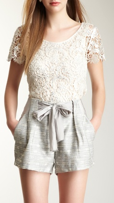 HauteLook Metallic Trim Lace Knit Top Always wanted to discover ways to knit, yet not sure the place to begin? This specific Total. Metallic Shorts, Bow Shorts, Knit Shorts, Cool Style, My Style, Frill Dress, Fashion Beauty, Womens Fashion, Lace Knitting