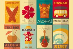 I just released Retro Hawaii posters collection on Creative Market.