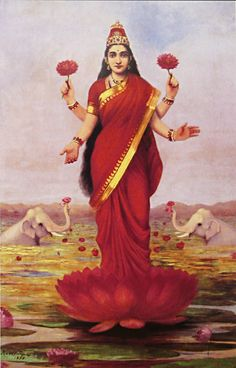 Lakshmi, Krishna's Shakti. Goddess of wealth, spiritual prosperity, and the embodiment of beauty. She is described as bestowing coins of prosperity and flanked by elephants signifying her royal power. The lotus symbolizes the fertile growth of organic life, as the world is continually reborn on a lotus growing out of Vishnu's navel.
