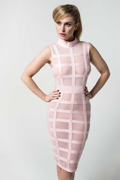 'Melanie' Pink Grid Sheer Bandage Dress