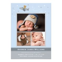 Photo Birth Announcements | Airplane Theme for Boy.  $2.05