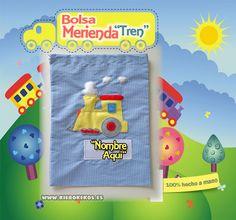 """Bolsa de merienda """"Tren"""".  Personalizala con el nombre del niño.  www.kierokekos.es"""