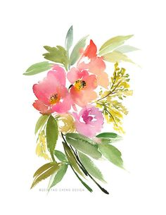 Poppies and Roses Watercolor Art Print by YaoChengDesign on Etsy, $25.00