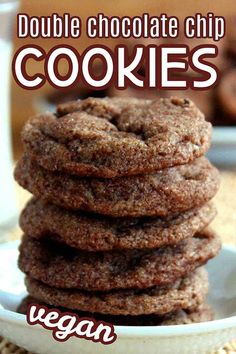 Vegan Double Chocolate Chip Cookies recipe features a soft and chewy cookie. There's a chocolate explosion in every bite and the cookies are simple to make and easier to eat. Favorite Cookie Recipe, Best Cookie Recipes, Vegan Dessert Recipes, Delicious Vegan Recipes, Vegan Sweets, Desert Recipes, Popular Recipes, Vegan Food, Delicious Desserts