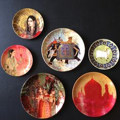 Mughal Themes Wall Plate Display Plate Wall Decor, Plates On Wall, Wall Art Decor, Decoupage Plates, Painted Plates, Art Stand, Wall Paper Phone, Plate Display, Plate Art