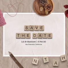 Save The Date Cards  Downloadable Card  Wedding Announcement image 4 Scrabble Tile Art, Scrabble Letters, Announcement Cards, Wedding Announcements, Printable Cards, Printables, Scrabble Wedding, Happy Birthday Printable, 65th Birthday