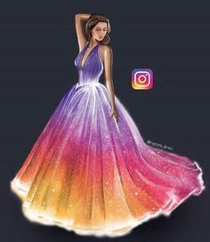 Dress by Naomi_limm App Drawings, Cool Art Drawings, Fashion Drawing Dresses, Fashion Illustration Dresses, Dress Design Drawing, Dress Drawing, Sketch Drawing, Drawing Art, Arte Fashion
