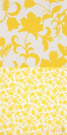 """light cream fabric with yellow flowers and leaves, Material: 100% cotton, Fabric Type: smooth cotton fabric, Pattern Repeat: ca. 60.5cm (23.8""""), Fabric Width: 112cm (44"""") #Cotton #Flower #Leaf #Plants #USAFabrics"""
