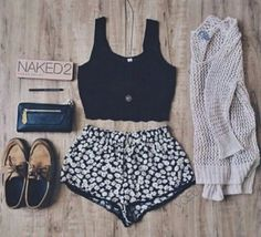 Black Crop Top and Floral Shorts with Cardigan and Clutch