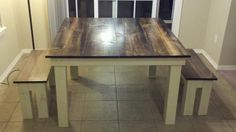 James+James: Square Table with 2 benches, x x Vintage Distressed Dark Walnut with Ivory Base. Farmhouse Kitchen Lighting, Farmhouse Style Table, Farmhouse Living Room Furniture, Farmhouse Kitchen Tables, Modern Farmhouse, Farmhouse Decor, Solid Wood Furniture, Furniture Plans, Furniture Projects