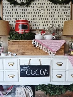 A cute cocoa bar—filled with goodies from World Market—invites visitors to help themselves to a warm mug topped off with marshmallows and more.