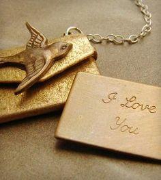 I Love You Envelope Necklace.