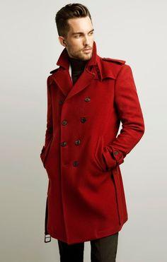 Zara: Men's Red Trench Coat