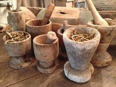 Old wooden mortar & pestles √
