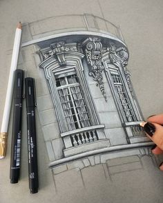 Architektur Architectural Drawings of Interesting Buildings Windows Details WIP. Architectural Drawings of Interesting Buildings. By Demi Lang. The post Architectural Drawings of Interesting Buildings appeared first on Architektur. Architecture Antique, Architecture Drawing Sketchbooks, Art Et Architecture, Architecture Details, Art Sketches, Art Drawings, Sketches Of Buildings, Buildings Artwork, 3d Sketch