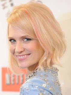 We've got a girl crush on this Mad Men star who took a beauty risk and dyed her strands a subtle, pink shade. The barely there bubblegum hue is the antethesis of anything her on-screen character, Betty Francis, would wear in her hair, which makes us love January even more.