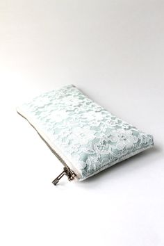 Lace Bridesmaid Clutch in Mint and Ivory, Wedding Clutch Purse - MORE COLORS AVAILABLE
