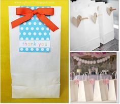 Embellished Paper Sacks.  Paper sacks are one of my FAVORITE wrappings.  Really like all of these ideas for embellishing them.  Cute, cute, cute...