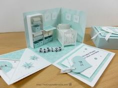 698 Baby Explosion Box - I had the idea to put a shelf and changing table in a BabyBox. It was a bit fiddly, but it was real - Baby Crafts, Diy And Crafts, Paper Crafts, Card In A Box, Explosion Box Tutorial, Exploding Box Card, Magic Box, Baby Box, New Baby Cards