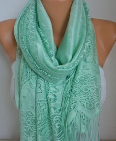 Mint Tulle Scarf Spring Summer Scarf easterCowl by fatwoman