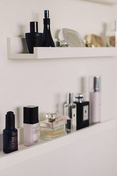 Already have mirror in bathroom with these shelves for my perfume, maybe just get the shelves for bedroom? not sure about damage removing mirror would do.