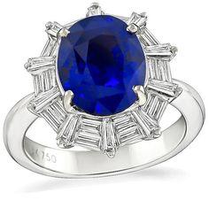 Oval Cut Sapphire Baguette Cut Diamond 18k White Gold Engagement Ring