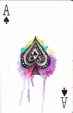 watercolour playing card  alice in wonderland inspired