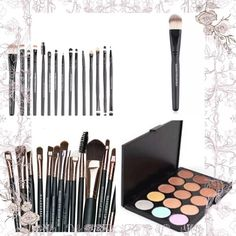 15 piece makeup brushes and contour palette 15 piece makeup brushes and contour palette Maange Makeup Brushes & Tools
