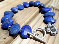 Lapis Bracelet and Hill Tribe Silver AAA Lapis Beachy