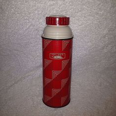 VTG 1963 Thermos Vacuum Bottle 2210 King Seeley Red MCM Mod Squares CLEAN #Thermos