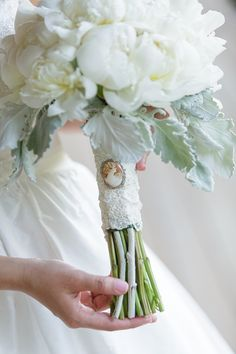 white peony bouquet with great grandmother's cameo | David Abel Photography | Glamour & Grace