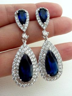Wedding Bridal Earrings -LARGE Halo Dark Sapphire Blue Peardrop Cubic Zirconia, Round CZ Drop, Sapphire Blue Peardrop CZ Post Earring on Etsy, $69.95