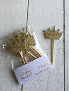 Crown cupcake toppers. Gold/silver. First birthday party. 12 Party cake toppers. Gold glitter cupcake toppers. Birthday decorations.