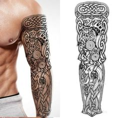 2 x Dragon temporary tattoo full arm sleeve tribal lion wolf tribal celtic viking nordic adult arm sleeve body art sticker temp tatoo