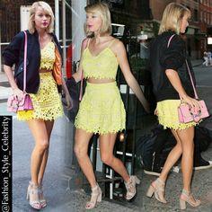 #TaylorSwift in Lovers + Friends '#Coastline' top and '#Contessa' skirt#Yellow #tomhiddleston #twopiece #fashionblogger #fashion #style #celebrity #blonde #boobjob #croptop #lace #lacedress #heels #highheels #outofthewoods  #snapchat #jacket #pretty #beauty #beautiful #harrystyles #calvinharris #kimkardashian #kanyewest... - Celebrity Fashion