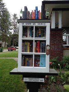 The Audubon Little Library features books for all ages. The library is made entirely from items found in our garage. We hope you visit often! Little Free Library Plans, Little Free Libraries, Little Library, Mini Library, Library Books, Library Inspiration, Library Ideas, Community Library, Community Service