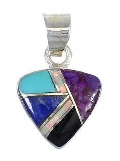 Sterling Silver And Multicolor Inlay Southwest Slide Pendant YX67850