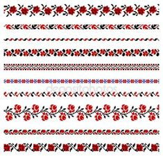illustrations of ukrainian embroidery ornaments, patterns, frames and borders. photo Vector - illustrations of ukrainian embroidery ornaments, corners, frames and borders. Cross Stitch Rose, Cross Stitch Borders, Cross Stitching, Cross Stitch Embroidery, Embroidery Patterns, Cross Stitch Patterns, Knitting Charts, Knitting Patterns, Palestinian Embroidery