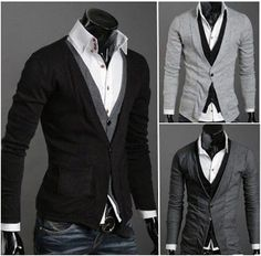 Halloween SALE is here! Men's Layered Look Button-up Cardigan now $28.95 only! (reg 49.95)