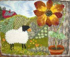 sheep with giant sunflower