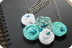 #rolled fabric flower necklace diy tutorial