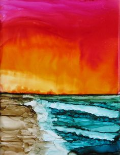 Abstract alcohol Ink, Beach, Sunrise, Sand, alcohol ink, colorful inks, color, Alcohol Inks