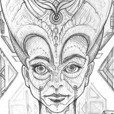 """Nofretete"" (Sketch, 2015) #sketch #sketches #sketching #sketchbook #psy #psychedelic #psychedelicart #psyart #visionary #visionaryart… Psy Art, Visionary Art, Psychedelic Art, Sketching, Instagram, Sketch, Sketches, Tekenen, Fine Art"